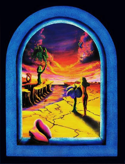 Surreal Sunset by Vincent Monaco, trippy,  psychedelic, cool, blacklight art poster